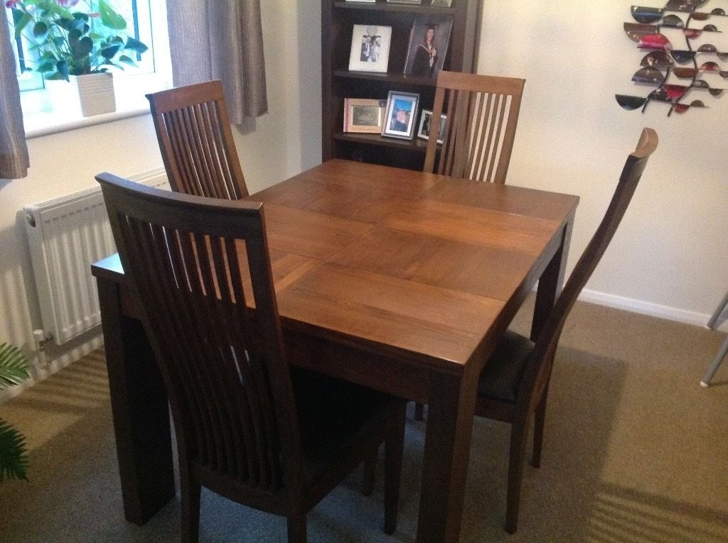 Solid Wood Dining Table And 4 High Back Chairs, Modern Design, Dark With Dark Brown Wood Dining Tables (View 4 of 25)