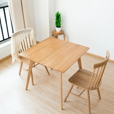 Solid Wood Dining Table Simple White Oak Square Table Wood Small Within Square Dining Tables (Image 11 of 25)