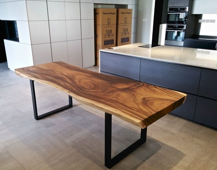 Solid Wood Dining Table With Black Metal Legs | Tables Wood | Dining Regarding Dark Solid Wood Dining Tables (View 22 of 25)