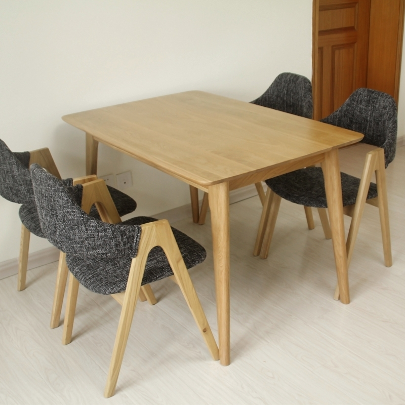 Solid Wood Dining Tables And Chairs Combination Square Oak Dining With Regard To Square Oak Dining Tables (Image 17 of 25)