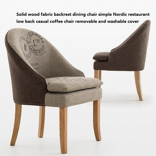 Solid Wood Fabric Backrest Dining Chair Simple Nordic Restaurant Low Intended For Fabric Covered Dining Chairs (Image 21 of 25)