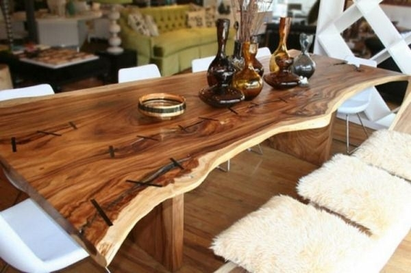 Solid Wood Furniture Ideas – The Log Dining Table | Rustic Tables Regarding Tree Dining Tables (Image 17 of 25)