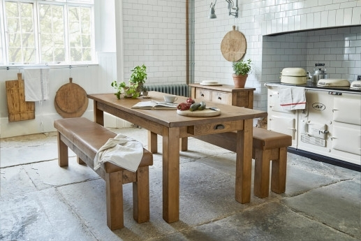 Solid Wood & Oak Dining Tables | Rustic & Chunky | Handmade | Indigo Throughout Oak Dining Suites (Image 23 of 25)