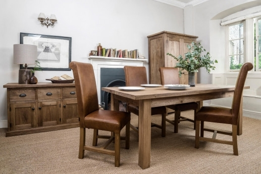 Solid Wood & Oak Dining Tables | Rustic & Chunky | Handmade | Indigo Within Oak Dining Suites (Image 24 of 25)