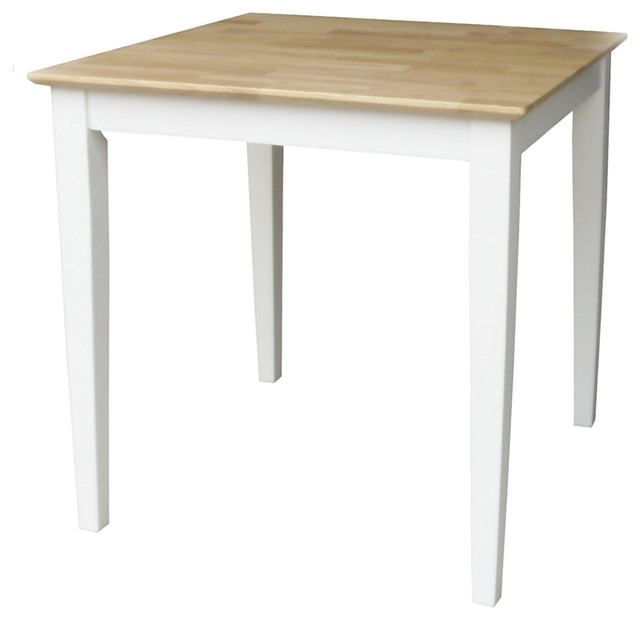 Solid Wood Top Table With Shaker Legs – Transitional – Dining Tables Pertaining To Dining Tables With White Legs And Wooden Top (View 22 of 25)
