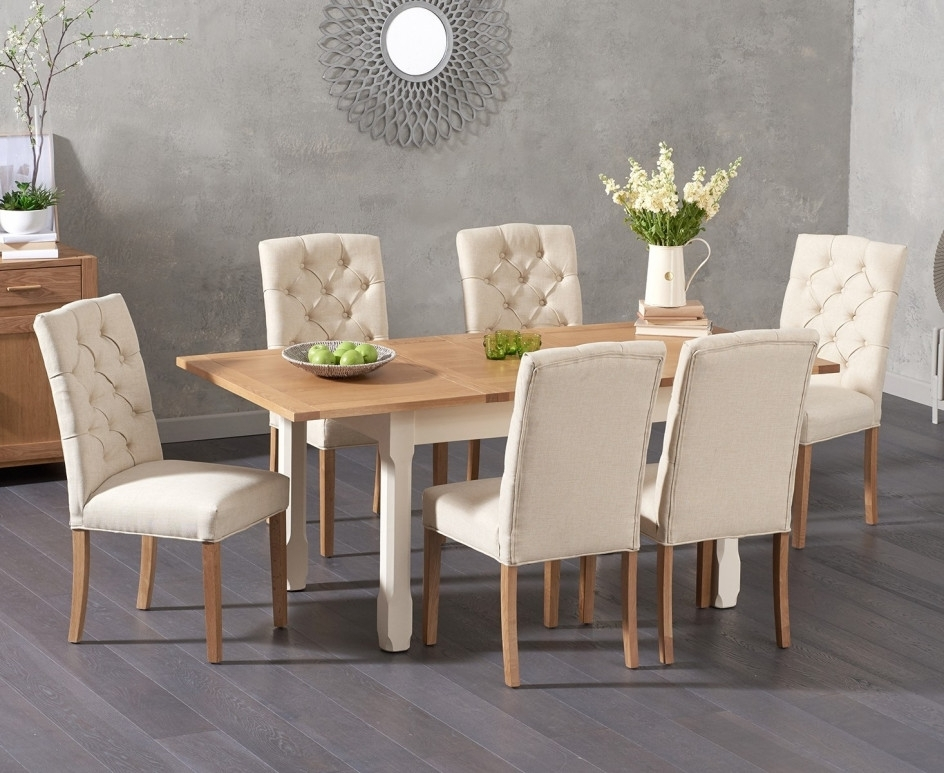 Somerset 130Cm Oak And Cream Extending Dining Table With Candice Intended For Candice Ii 6 Piece Extension Rectangle Dining Sets (Image 17 of 25)
