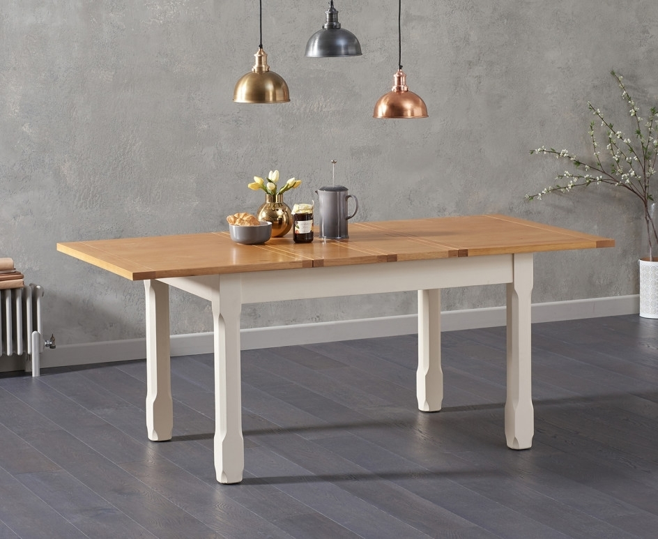 Somerset 130Cm Oak And Cream Extending Dining Table With Candice Within Candice Ii 7 Piece Extension Rectangle Dining Sets (Image 18 of 25)