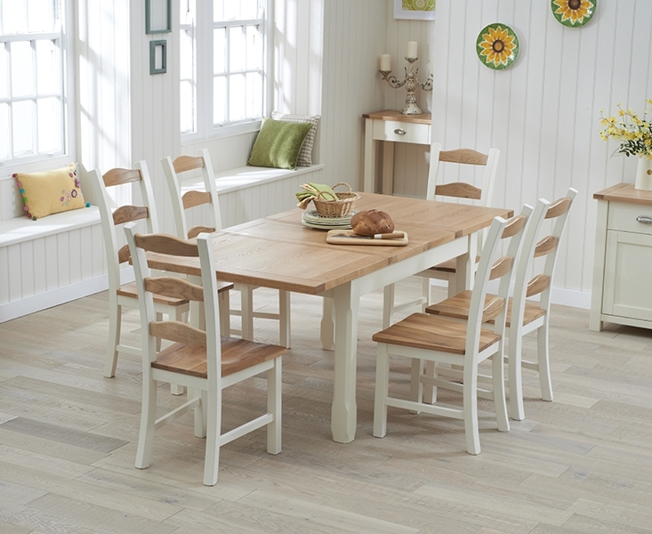 Somerset 130Cm Oak And Cream Extending Dining Table With Chairs Regarding Extendable Dining Tables With 6 Chairs (View 2 of 25)