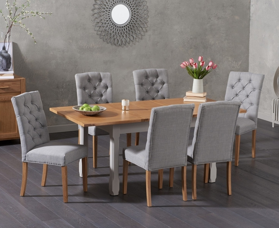 Somerset 130Cm Oak And Grey Extending Dining Table With Candice Grey Within Candice Ii Extension Rectangle Dining Tables (Image 20 of 25)