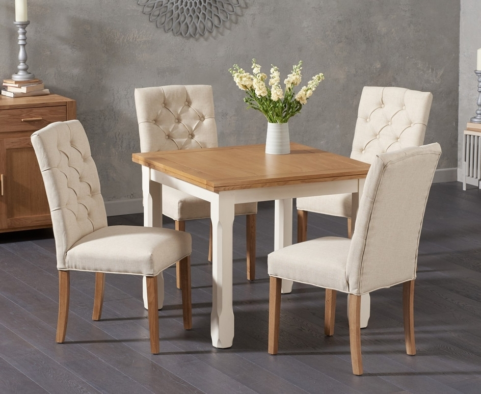 Somerset 90Cm Flip Top Oak And Cream Dining Table With Candice Cream Regarding Candice Ii 7 Piece Extension Rectangle Dining Sets (Image 20 of 25)