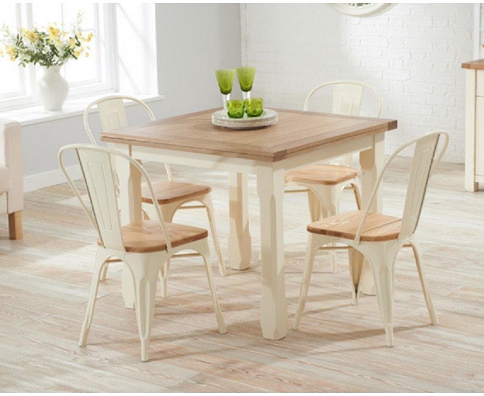 Somerset 90Cm Flip Top Oak And Cream Dining Table With Tolix Intended For Cream And Wood Dining Tables (Image 22 of 25)