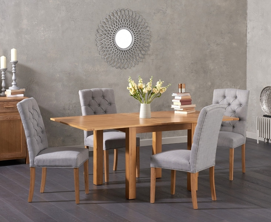 Somerset 90Cm Flip Top Oak Dining Table With Candice Fabric Chairs with Candice Ii 6 Piece Extension Rectangle Dining Sets