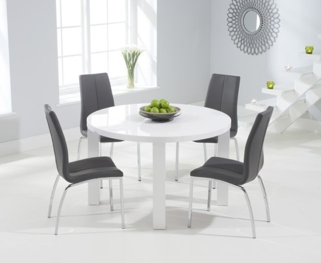 Somerset Painted Furniture Grey & Oak Extending Dining Table Set For High Gloss White Dining Chairs (View 19 of 25)