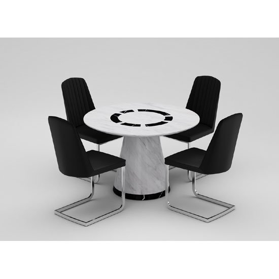Sonati Marble Effect Circular Dining Table With 4 Bolza In Marble Effect Dining Tables And Chairs (View 16 of 25)