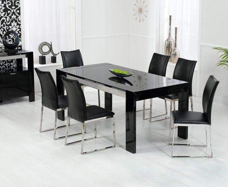 Sophia High Gloss Black Dining Table Throughout Black Dining Tables (Image 23 of 25)