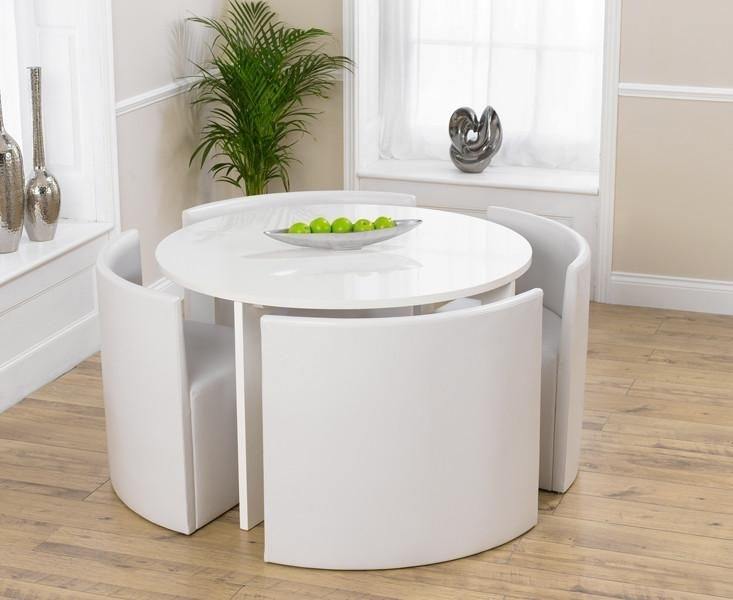 Sophia Round High Gloss White Dining Table 4 Chairs | Dining Sets For Circular Dining Tables For  (Image 24 of 25)