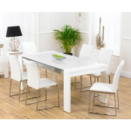 Sophia White High Gloss Dining Table With Regard To High Gloss Dining Tables And Chairs (Image 22 of 25)