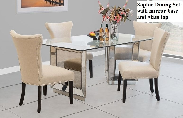 Sophie Mirrored Dining Table Beautiful Sophie Mirror Dining Set Regarding Mirrored Dining Tables (Image 18 of 25)