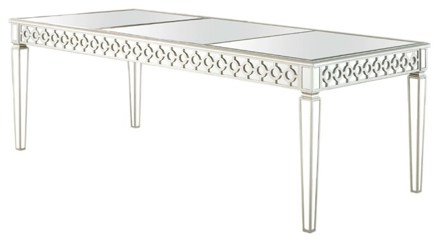 Sophie Silver Mirrored Dining Room Table – Contemporary – Dining Within Mirrored Dining Tables (View 11 of 25)