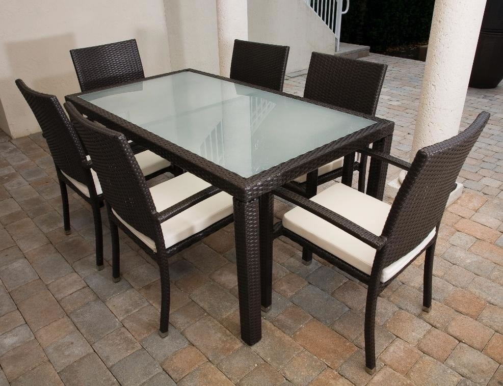 """Source Outdoor Zen Wicker 84"""" X 40"""" Dining Table – Wicker With Regard To Rattan Dining Tables (Image 21 of 25)"""
