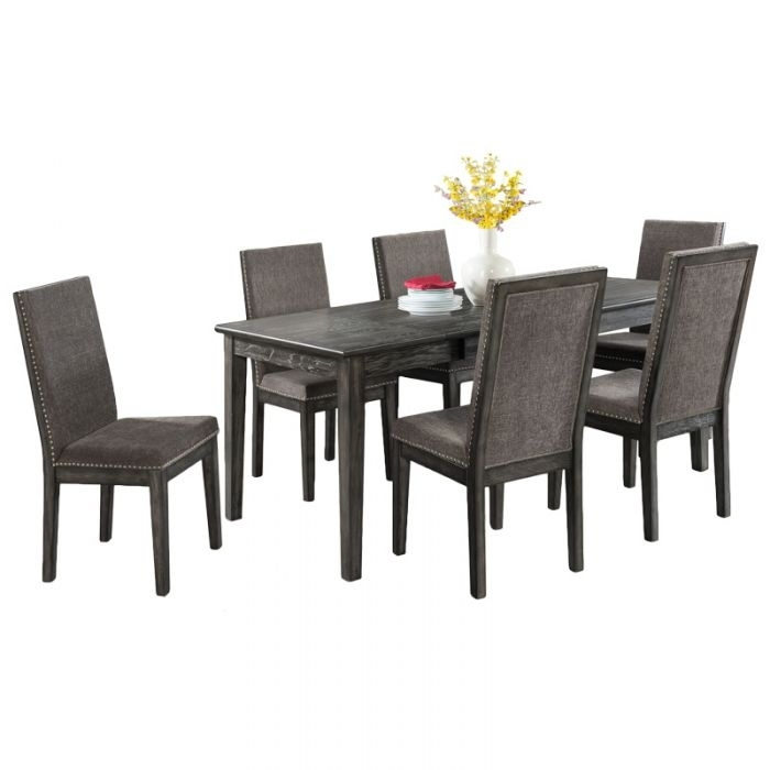 South Paw Dark Gray 7 Piece Dining Set | Weekends Only Furniture Throughout Cora 5 Piece Dining Sets (Image 19 of 25)