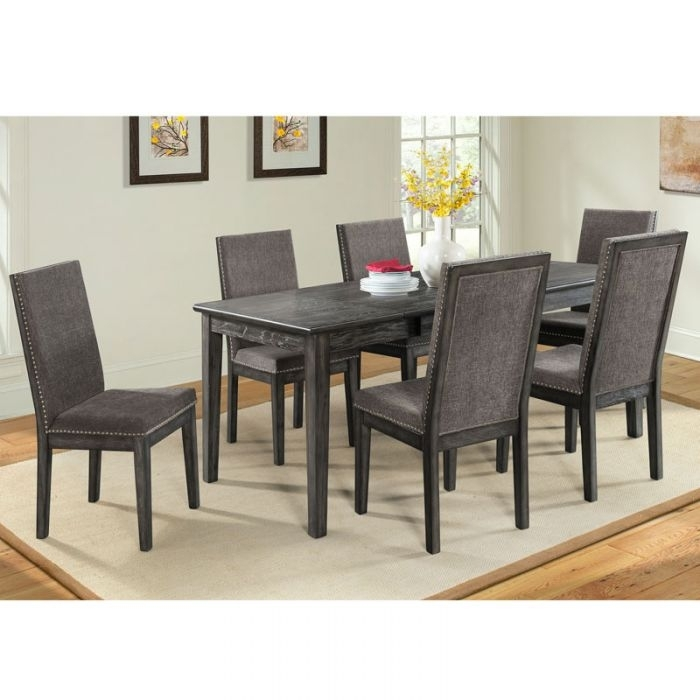 South Paw Dark Gray 7 Piece Dining Set | Weekends Only Furniture Within Cora 5 Piece Dining Sets (Image 20 of 25)