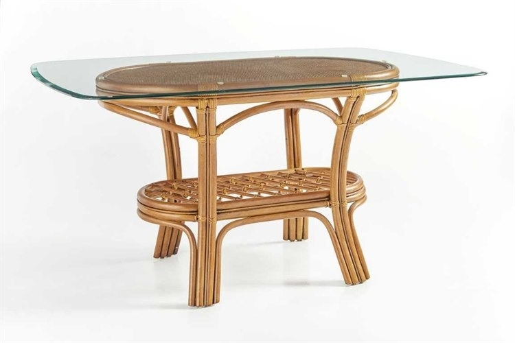 South Sea Rattan Palm Harbor Wicker Oval Glass Dining Table | 8618 Inside Wicker And Glass Dining Tables (Image 19 of 25)