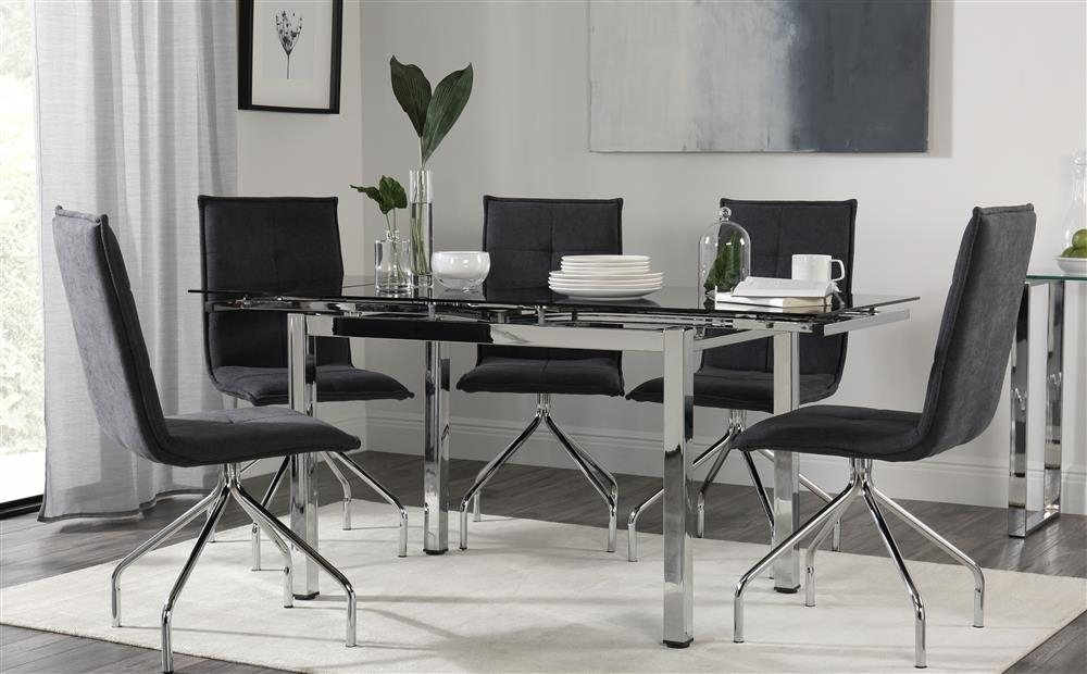 Space Chrome & Black Glass Extending Dining Table & 4 6 Soho Slate Pertaining To Black Glass Extending Dining Tables 6 Chairs (Image 22 of 25)