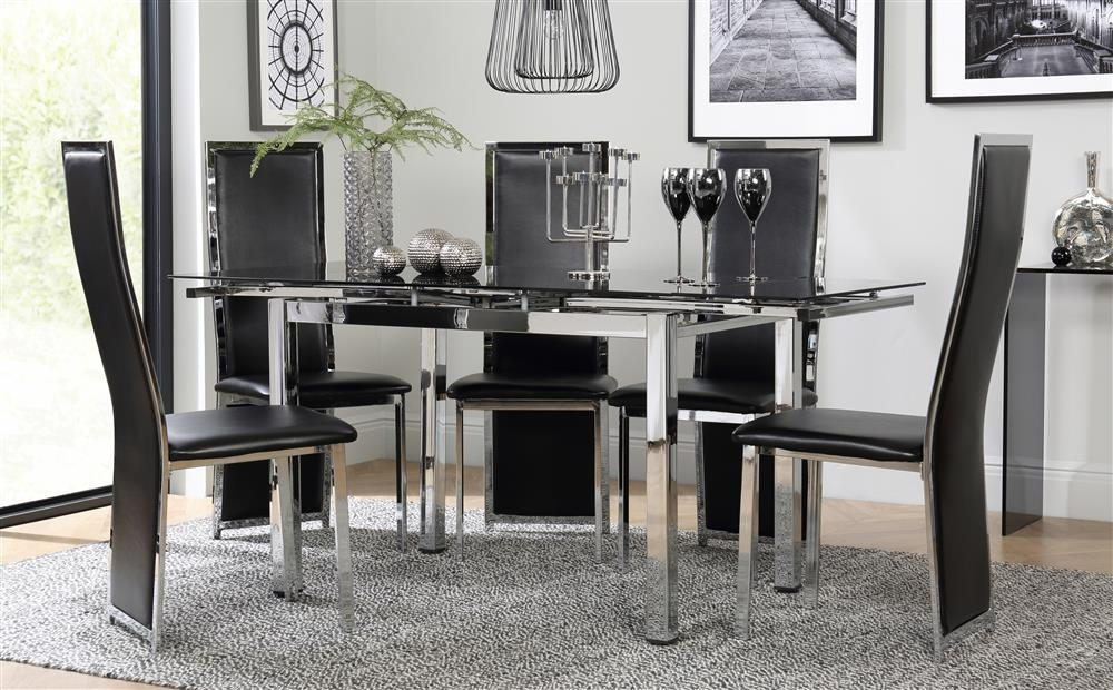 Space Chrome & Black Glass Extending Dining Table With 6 Celeste With Regard To Glass Extendable Dining Tables And 6 Chairs (Image 24 of 25)
