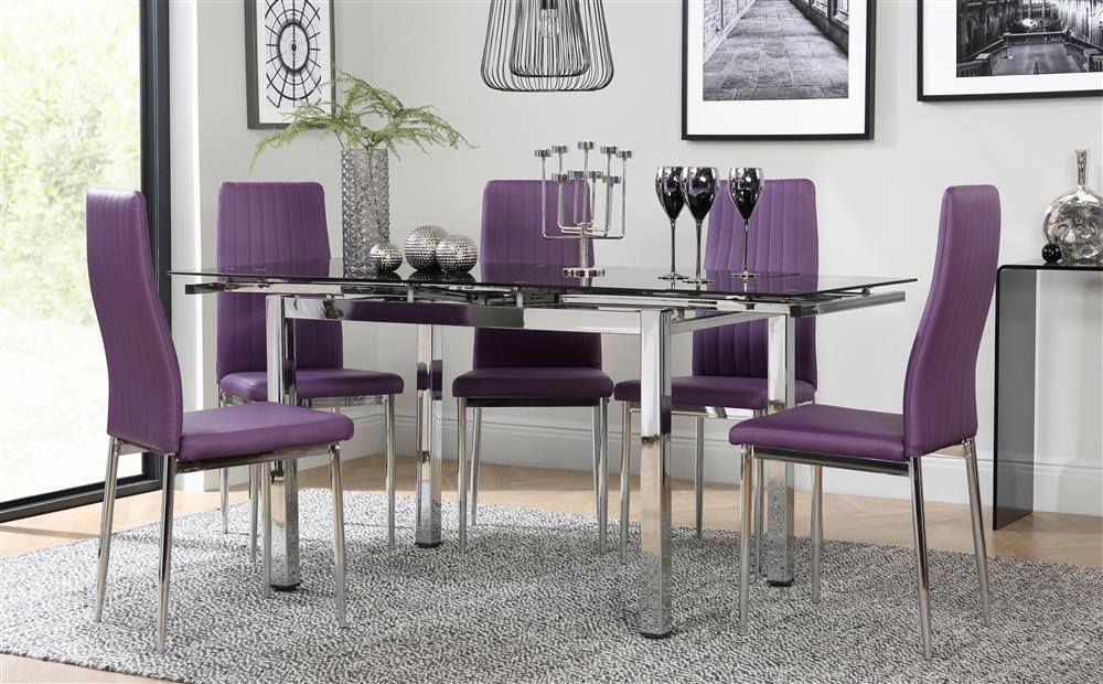 Space Chrome & Black Glass Extending Dining Table With 6 Leon Purple Throughout Dining Tables And Purple Chairs (Image 21 of 25)