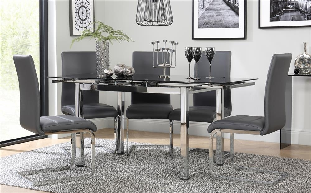 Space Chrome & Black Glass Extending Dining Table With 6 Perth Grey With Perth Glass Dining Tables (Image 21 of 25)