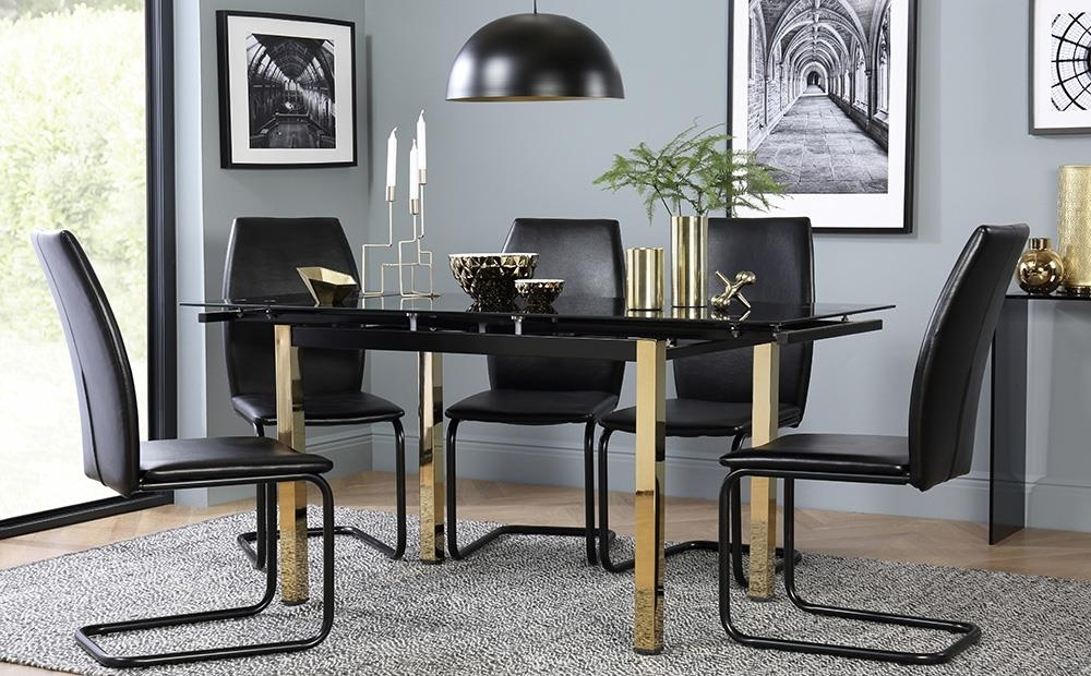 Space Gold And Black Glass Extending Dining Table With 6 Pica Black Within Black Glass Extending Dining Tables 6 Chairs (Image 24 of 25)
