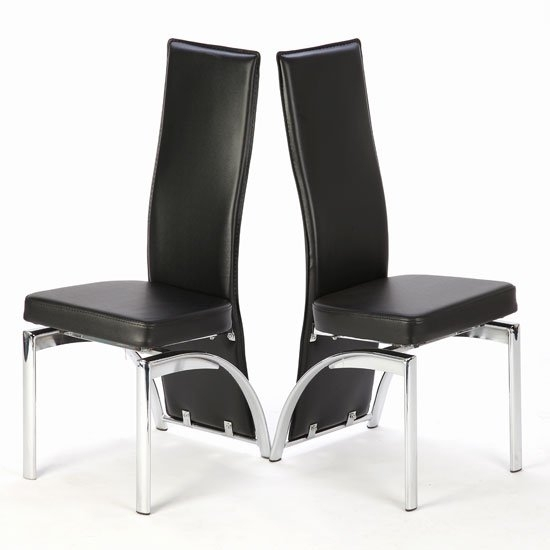 Special Offer!! 2 X Romeo Black Dining Chairs 18985 With Black Dining Chairs (Image 21 of 25)
