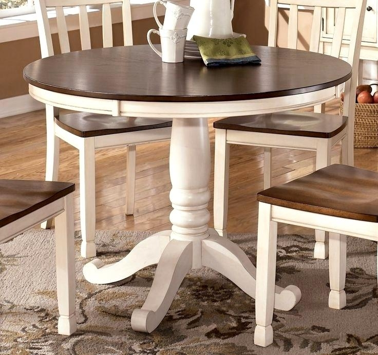 Spectacular Dining Table White Brown Top Best Wood Pedestal Table Pertaining To Dining Tables With White Legs And Wooden Top (Image 19 of 25)