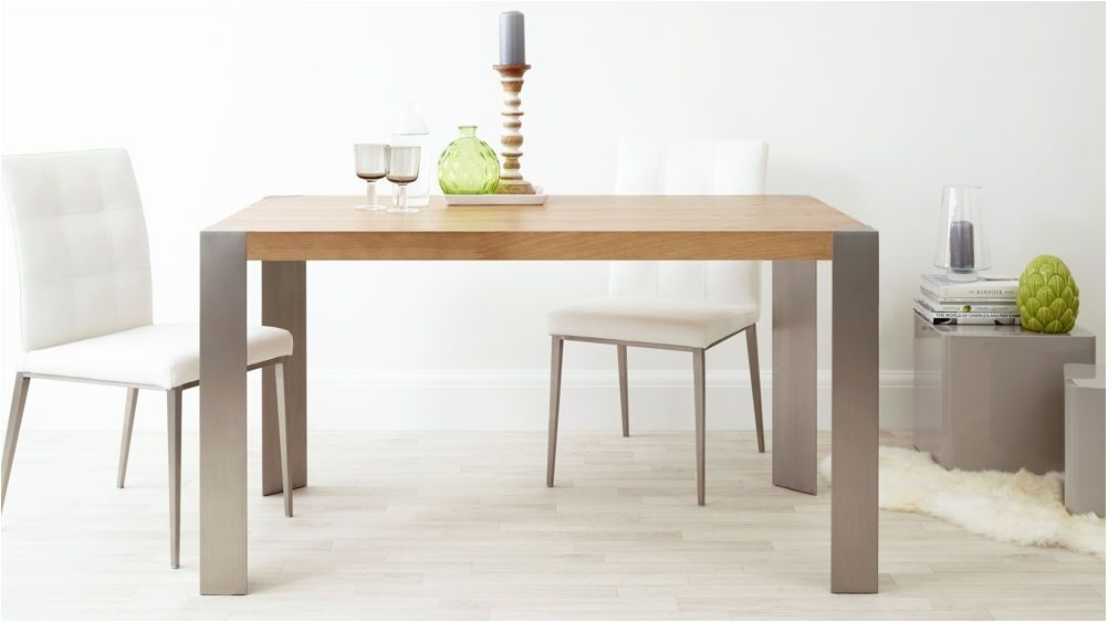 Spectacular Modern Oak Dining Table Brushed Steel Legs Seats 6 Regarding Brushed Metal Dining Tables (Image 22 of 25)