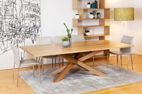 Spinifex Solid American Oak Dining Table With Contemporary Base For Contemporary Base Dining Tables (Image 24 of 25)