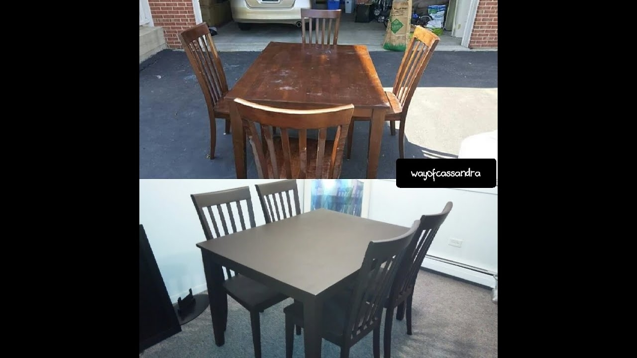 Spray Painting My Dining Room Table! – Youtube Pertaining To Painted Dining Tables (Image 23 of 25)