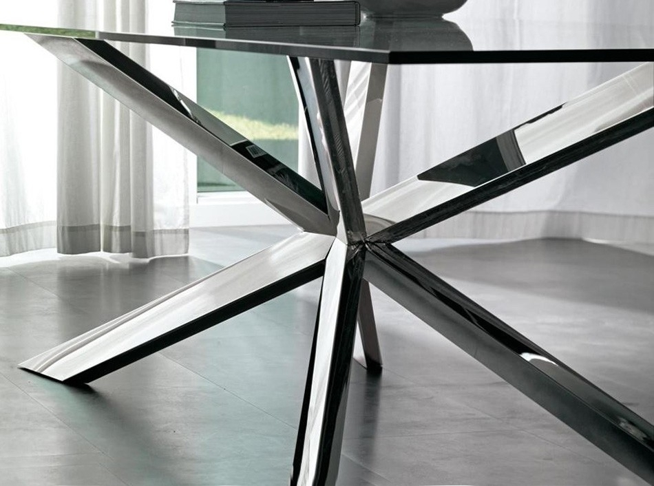 Spyder Square Glass Dining Tablecattelan Italia – Dining Tables In Glass And Stainless Steel Dining Tables (View 23 of 25)
