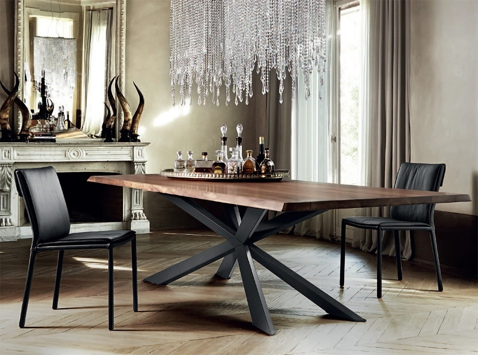 Spyder Wood Dining Tablecattelan Italia – Dining Tables – Dining Regarding Dining Tables With Metal Legs Wood Top (View 10 of 25)
