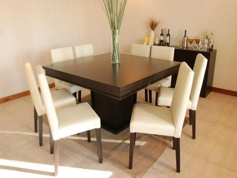Square 8 Seater Dining Table – Foter With Black 8 Seater Dining Tables (Image 23 of 25)