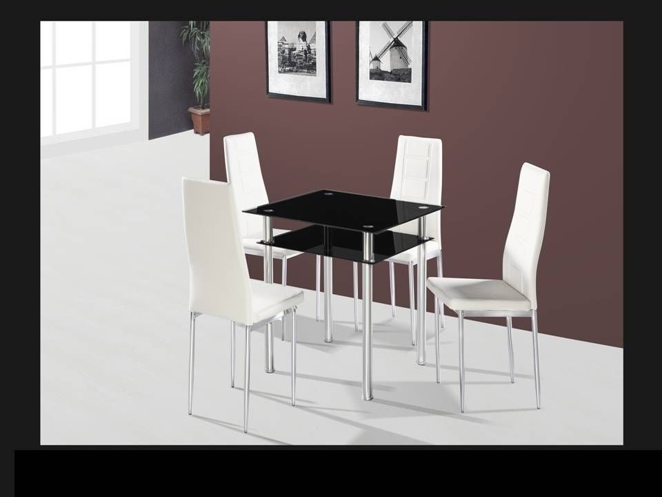Square Black Glass Dining Table And 4 Chairs – Homegenies Intended For Square Black Glass Dining Tables (Image 22 of 25)