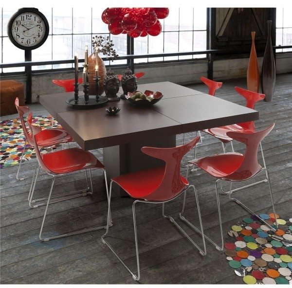 Square Dusk Dining Table – Brown Or White Glosstemahome | Dining Within Red Gloss Dining Tables (Image 15 of 25)