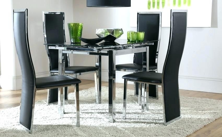 Square Extending Dining Table And Chairs Glass Dining Room Sets For Intended For Square Black Glass Dining Tables (Image 23 of 25)