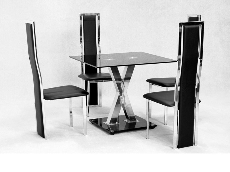 Square Glass Dining Table X Chrome And 4 Faux Chairs – Homegenies With Square Black Glass Dining Tables (View 4 of 25)
