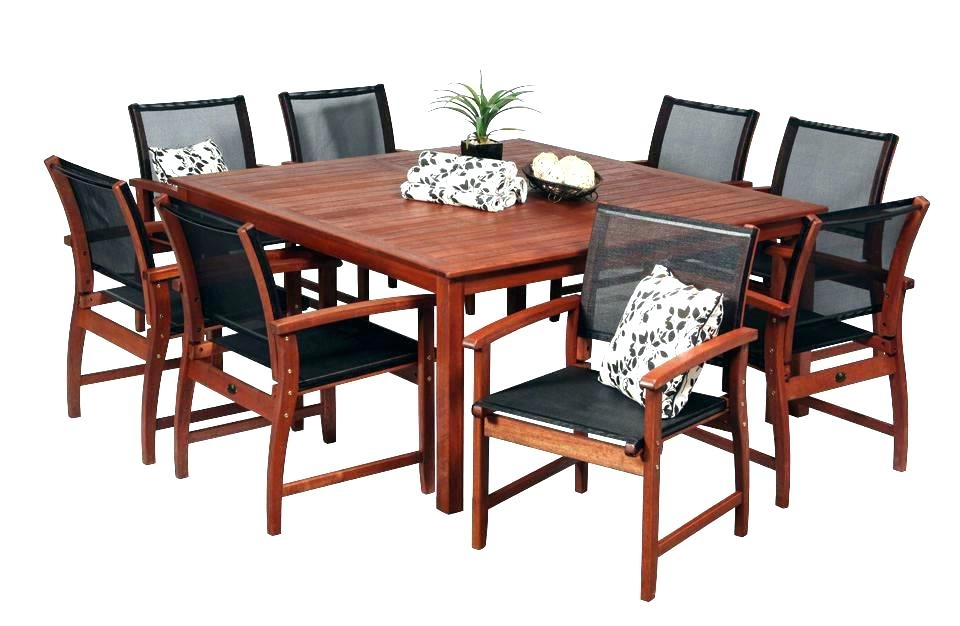 Square Kitchen Table With 8 Chairs Square Patio Table For 8 Square In 8 Seat Outdoor Dining Tables (Image 24 of 25)