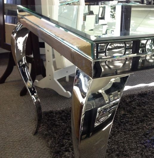 Square Mirrored Dining Table Glass Full Bevel Mirror Top With Crome Inside Mirror Glass Dining Tables (Image 24 of 25)