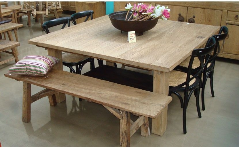 Square Table With Bench | For The Home | Pinterest | Dining, Square Inside Square Oak Dining Tables (Image 25 of 25)