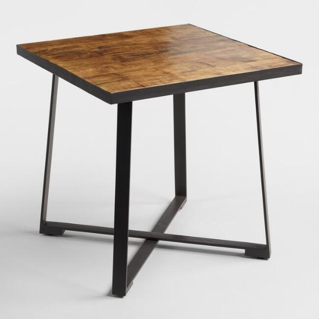 Square Wood And Metal Mykah Dining Table World Market In Prepare 0 Inside Market 7 Piece Counter Sets (Image 25 of 25)