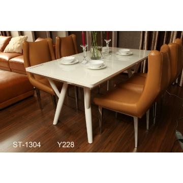 St 1304, China Tempered Glass In Cream Color And Mdf Dining Table With Cream High Gloss Dining Tables (View 20 of 25)