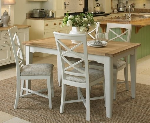 St Ives Small Extending Dining Set With Table & 4X Cross Back Chairs Within Small Extending Dining Tables And Chairs (Image 24 of 25)